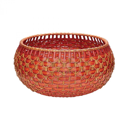 Dimond Large Fish Scale Basket In Red And Orange 466053
