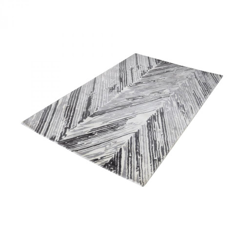 Dimond Rhythm Handwoven Printed Wool Rug In Grey And White 36X60