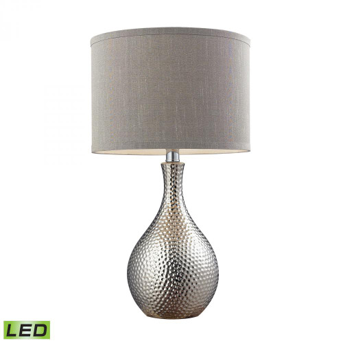 Dimond Hammered Chrome Plated LED Table Lamp With Grey Faux Silk Shade D124-LED