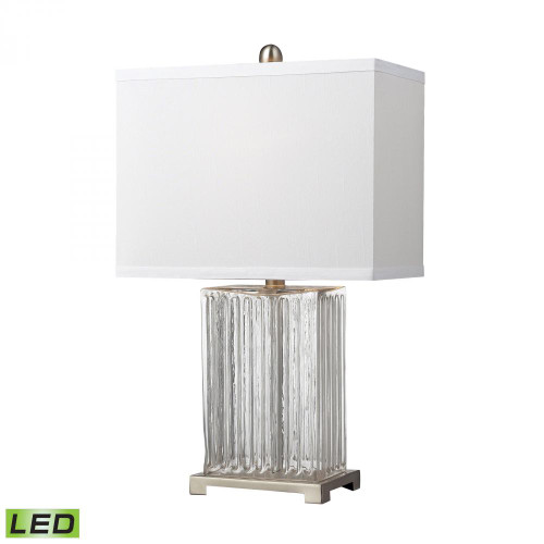 Dimond Ribbed Clear Glass LED Table Lamp In Brushed Steel D140-LED