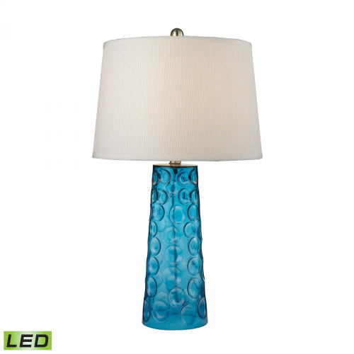 Dimond Hammered Glass LED Table Lamp In Blue With Pure White Linen Shade D2619-LED