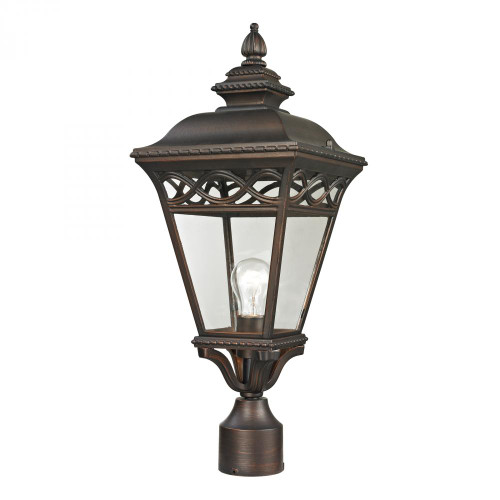 Elk Cornerstone Mendham 1 Light Exterior Post Lantern In Hazelnut 8511Ep/70