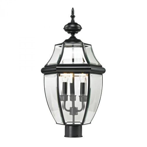 Elk Cornerstone Ashford 3 Light Exterior Post Lantern In Black 8603Ep/60