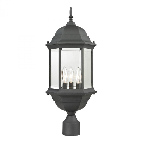 Elk Cornerstone Spring Lake 3 Light Exterior Post Lantern In Matte Black 8603Ep/65