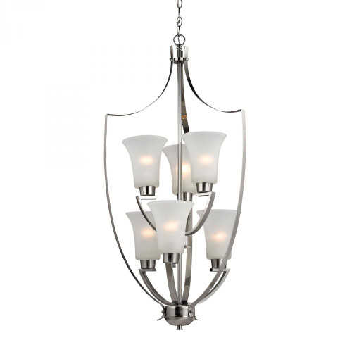 Elk Cornerstone Foyer 6 Light Nickel Chandelier-7706FY/20
