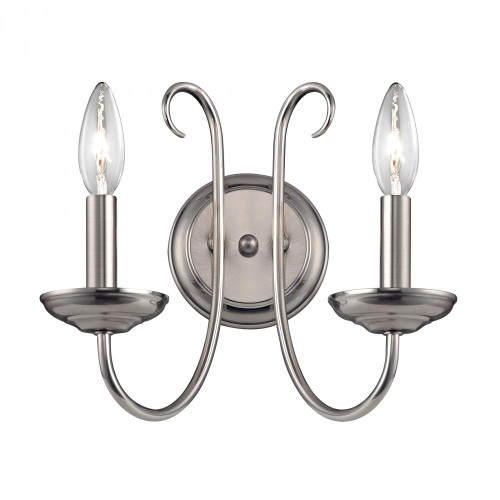 Elk Cornerstone Williamsport 2 Light Wall Sconce In Brushed Nickel 1502Ws/20