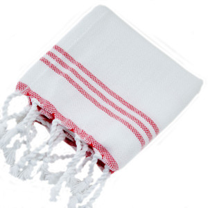 White with Red Turkish Napkins S/4