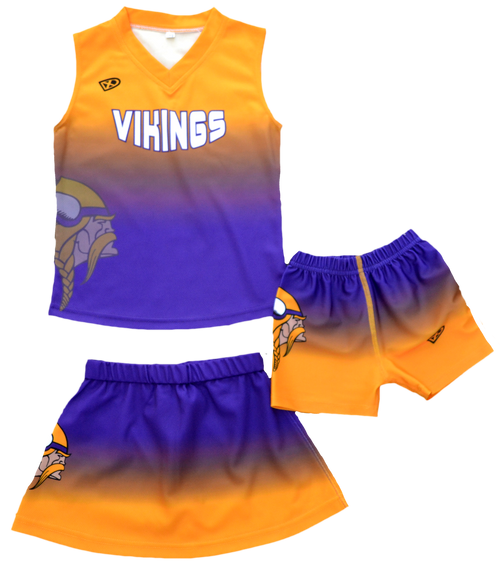 3 piece Cheer Uniforms - Sleeveless top, Skirt, and Under Shorts