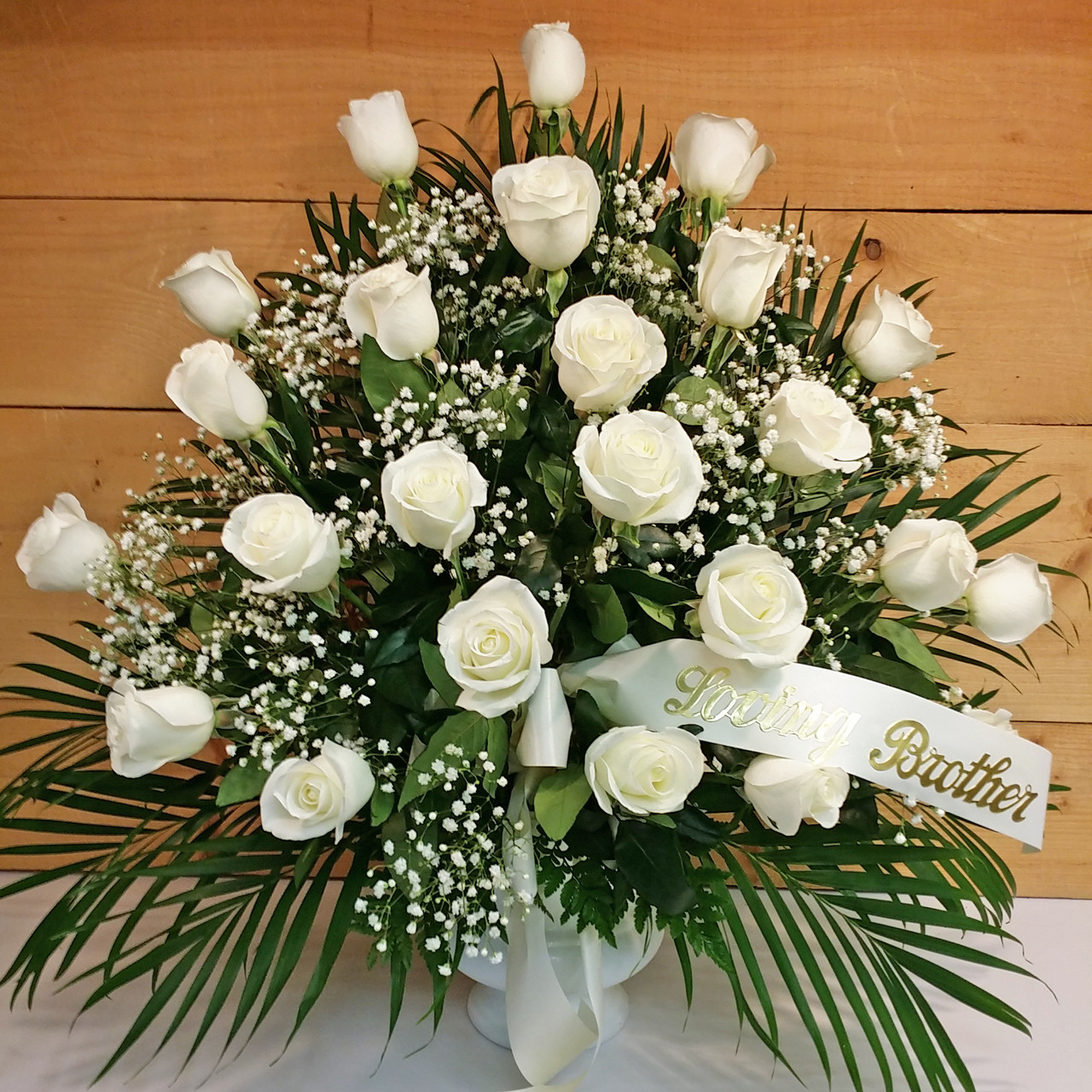 24 White Rose Sympathy Arrangement Savilles Country Florist