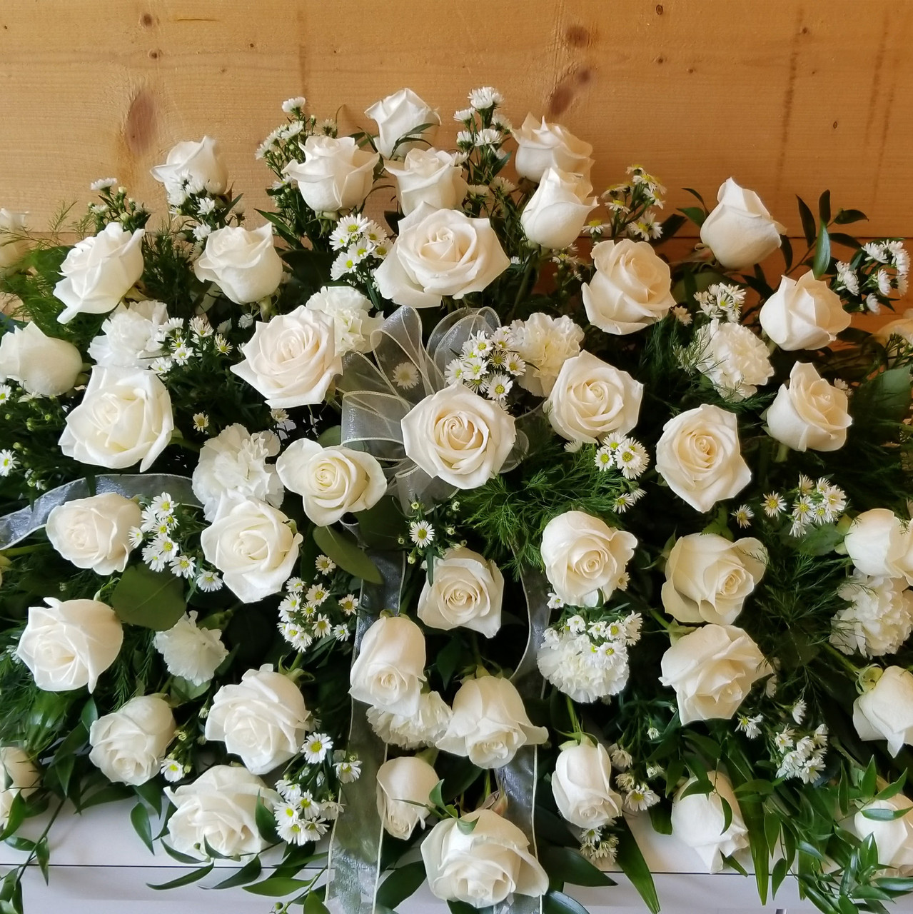 White Rose Premium Casket Spray Savilles Country Florist
