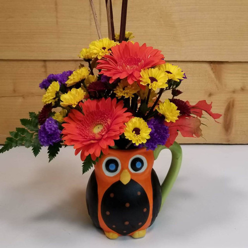 """Hoo"" Love's Autumn (SCF18F01) by Savilles Country Florist.  Flower and Plant delivery to Orchard Park, NY and the surrounding area including same day delivery to Hamburg, West Seneca, East Aurora, Blasdell and Buffalo NY"