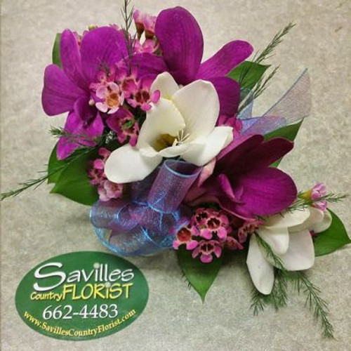Corsage 3 Purple Dendrobium with freesia