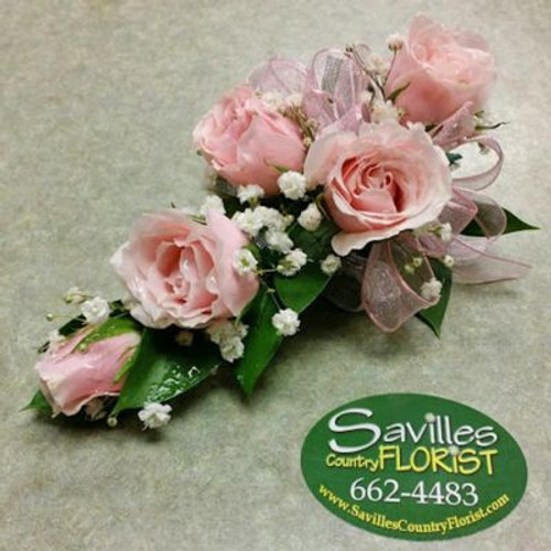 Corsage 5 Pink Sweetheart Roses