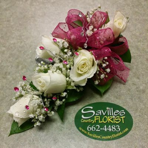 Corsage with 5 White Sweetheart Roses & Gems