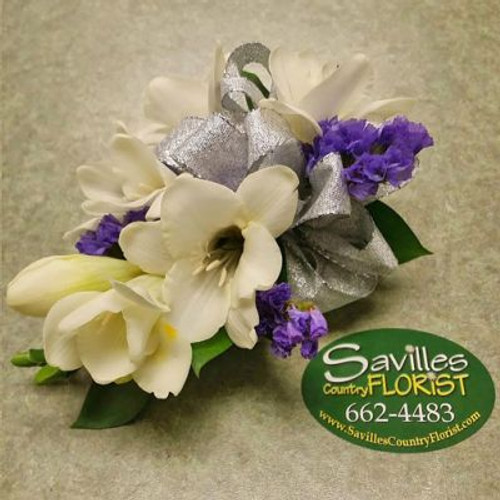 Corsage with Feesia and Purple Statice
