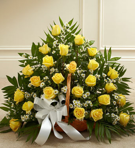 Yellow Rose Fireside Basket by Savilles Country Florist. Flower delivery to Orchard Park, Hamburg, West Seneca, East Aurora, Buffalo, NY and surrounding suburbs.