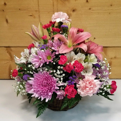 Basket of Love by Savilles Country Florist. Flower delivery to Orchard Park, Hamburg, West Seneca, East Aurora, Buffalo, NY and surrounding suburbs.