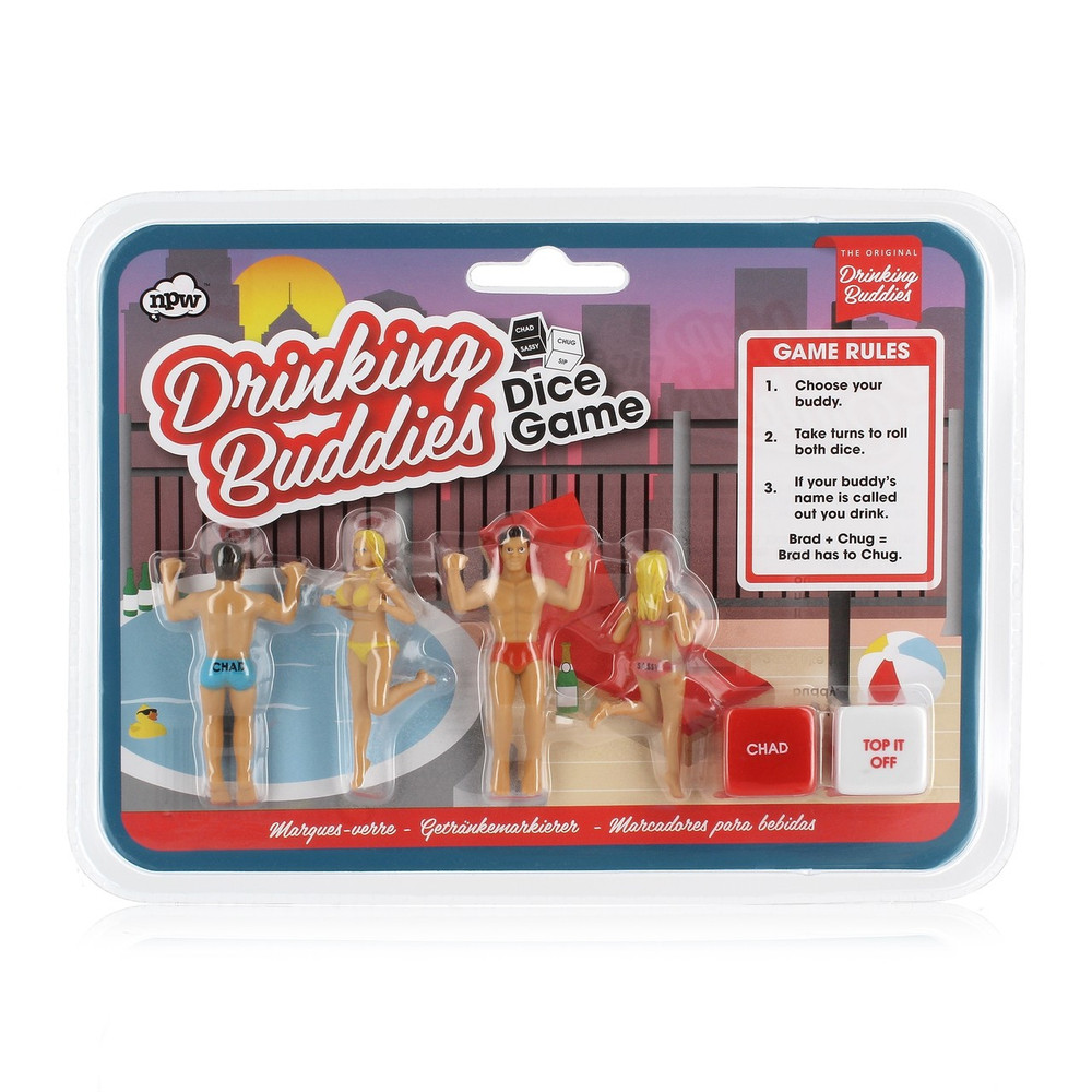 Comes with  4 drinking buddies 2 dice  Game Rules  1)  Choose Drinking Buddy 2)Take turns to Roll the Dice 3)If buddies name is called you drink
