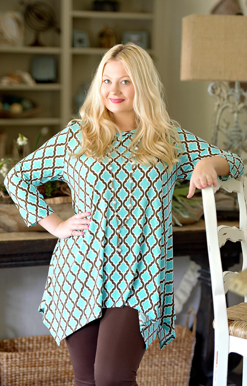 d694f43b48e8 Back To Forever Print Tunic Top - Mint - Perfectly Priscilla Boutique