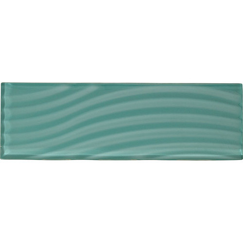 "American Olean Color Appeal Abstracts Fountain Blue 4"" x 12"" Glass Tile"