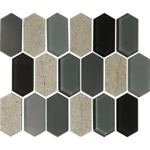 "American Olean Alair 2"" x 4"" Linear Hexagonal Mosaic Smoke"