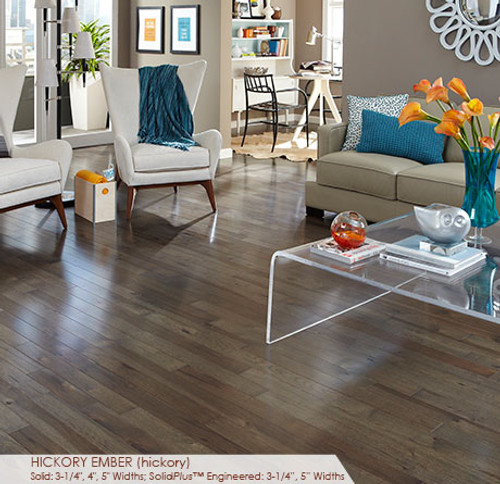 """Somerset Character Collection Engineered Plank Hickory Ember 5"""""""