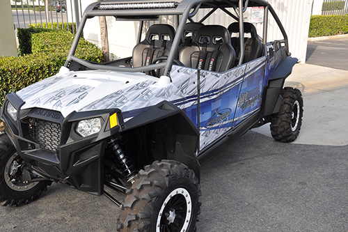 POLARIS RZR 900 XP GLOSS 3M VEHICLE WRAPS WITH CUSTOM DESIGN AND METALIC INK