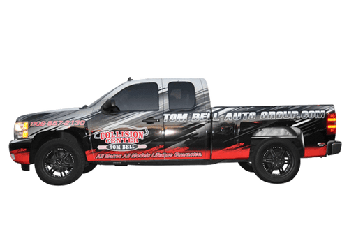 Chevy Truck Wrap using 3M for Tom Bell Collision Cente