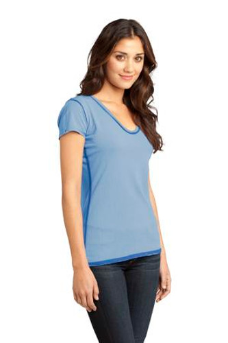 District® - Juniors Faded Rounded Deep V-Neck Tee.