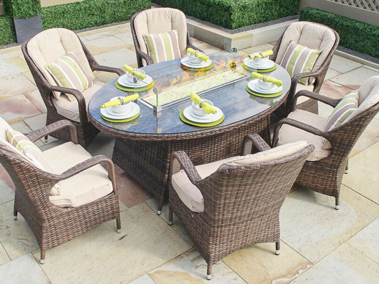 Elegant Direct Wicker 6 Seat Oval Gas Fire Pit Dining Table(TABLE ONLY)
