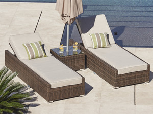 Direct Wicker Vida 3 Piece Chaise Lounge with Cushion