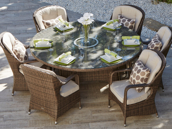 round outdoor dining sets. Direct Wicker Cinderella Patio 7 Piece Round Dining Set Round Outdoor Dining Sets I