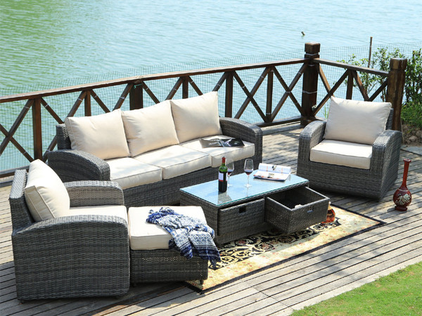 Direct Wicker Pocahontas 5pc Patio Garden Furniture Sofa Set Sectional ... - 5 Pcs PE Wicker Rattan Sofa Set Outdoor Garden Furniture With Cushion