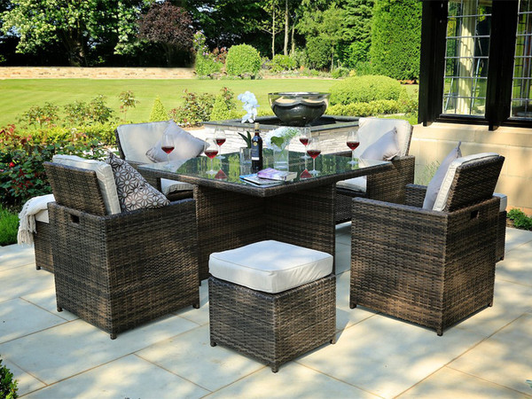 Direct Wicker Adella 9 Piece Dining Set with Cushions