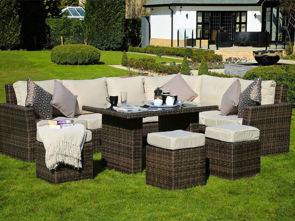 Direct Wicker Deluxe 8 Piece Deep Seating Group with Cushion
