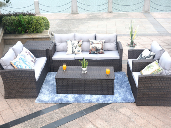 Direct Wicker Medford 6 Piece Sectional Set with Cushions