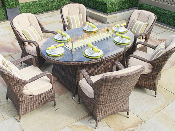 Patio Outdoor Dining Table With Firepit - 6 person round outdoor dining table