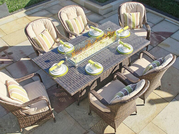 Direct Wicker 6 Seat Rectangular  Gas Fire Pit Dining Table(TABLE ONLY)