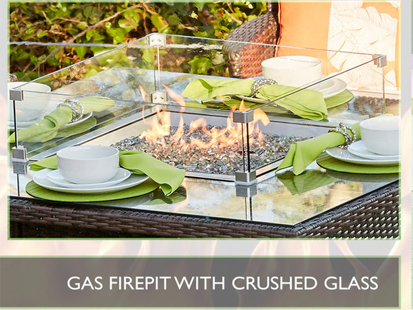 Direct Wicker 6 Seat Oval Gas Fire Pit Dining Table(TABLE ONLY)