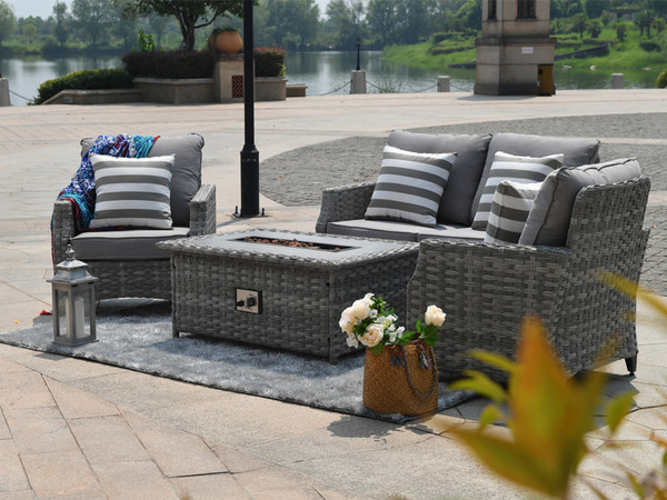Direct Wicker Sofa Set With Gas Fire Pit Coffee Table