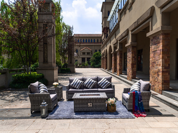 Direct Wicker Convention Sofa Set With Gas Fire Pit Coffee Table