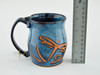 Pottery Mug with a Saying - Blue Dragonfly Design 14 oz