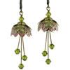 Flower Fairy Earrings - Pixie Flower Gold, Magenta and Lime