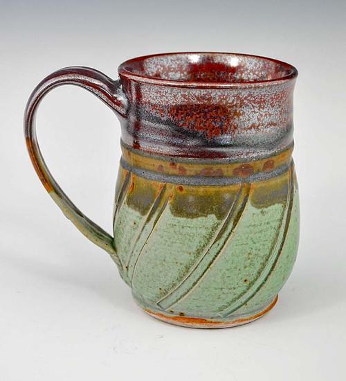 "Handmade Pottery Mug 4.5"" in Plum and Green 12 oz"