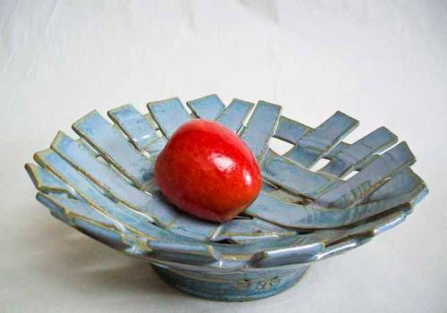 Handmade Stoneware Woven Round Platter
