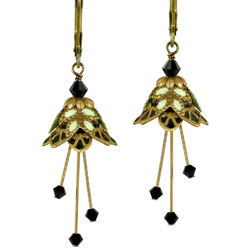 Flower Fairy Earrings - Fire Sprite Gold, Black and Mint