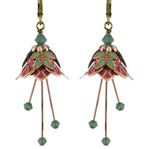 Flower Fairy Earrings - Fire Sprite Gold, Rose and Green