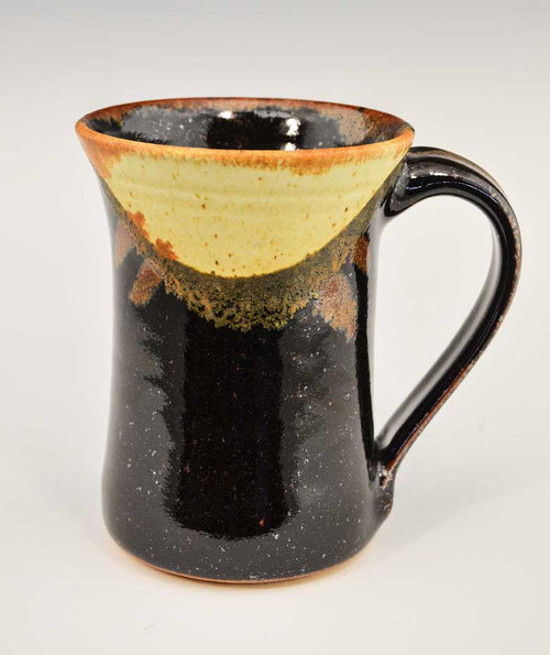 Handmade Pottery Mug in Black, Cream and Gold 14 oz - rear