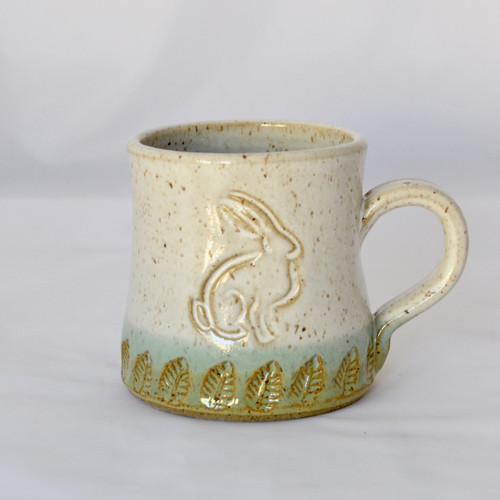 Handmade Pottery Bunny Mug White and Green