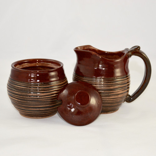 Handmade Pottery Cream and Sugar Set Reddish Brown with Stripes